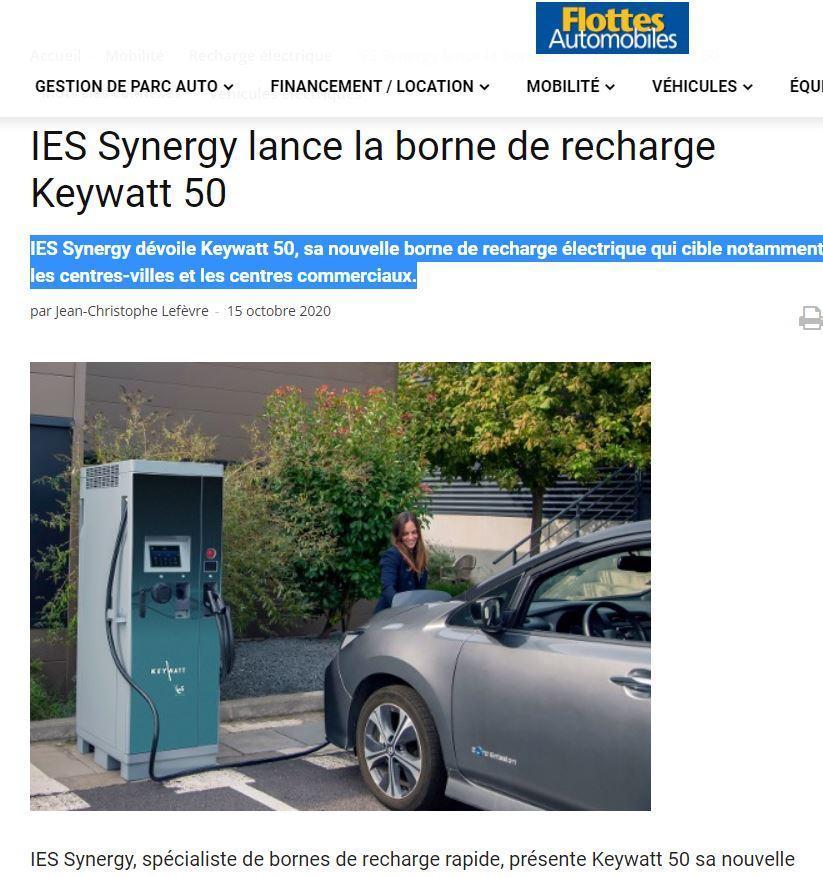 Article Flotte Automobile lancement borne de recharge rapide Keywatt 50