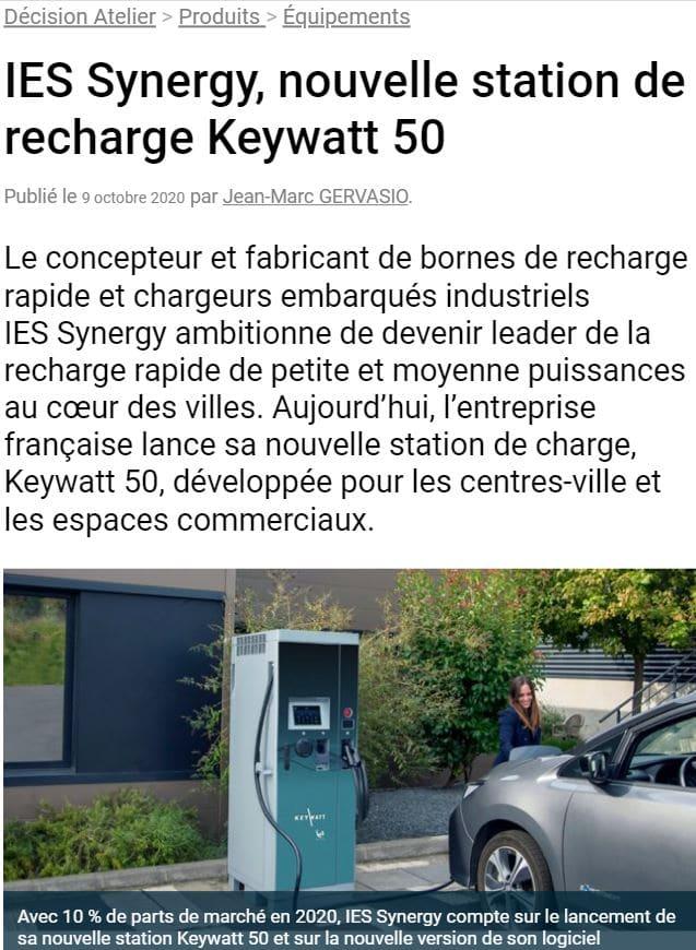 Article Décision Atelier nouvelle station de recharge 50 kW